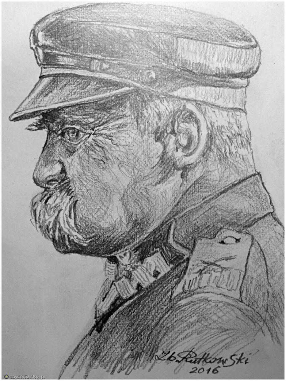 Portret Marszałka Józefa Piłsudskiego Rysunek Ołówkiem Radom